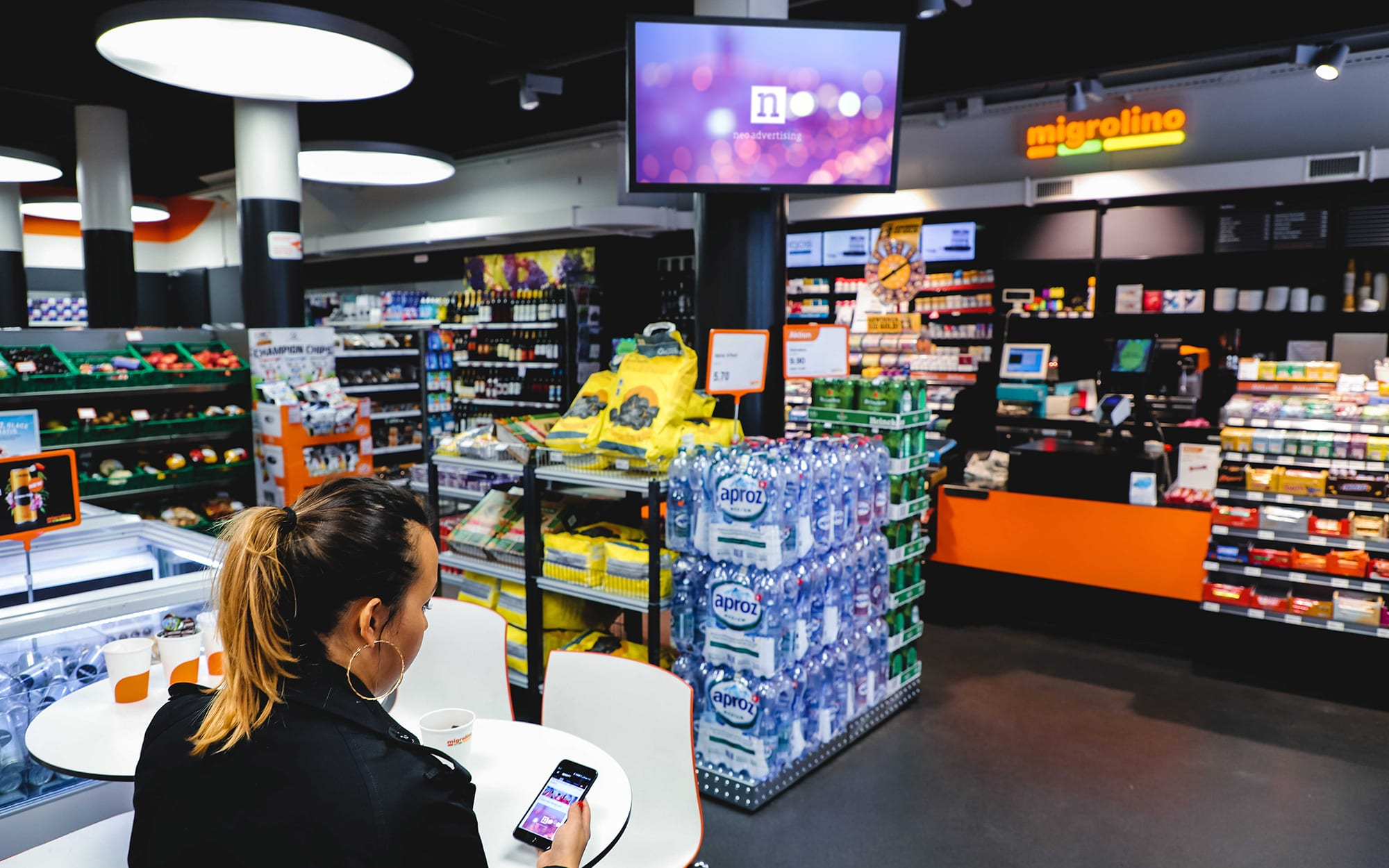 Migrolino screens, POS - Neo Advertising